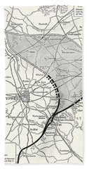 Map Showing The Ypres Salient Before And After The Second Battle Of Ypres Hand Towel