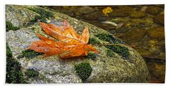 Maple Leaf On A Rock Bath Towel