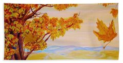 Bath Towel featuring the painting Maple One by Cathy Long