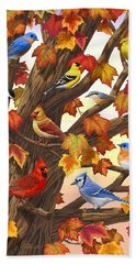 Maple Tree Marvel - Bird Painting Hand Towel by Crista Forest