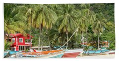 Bath Towel featuring the photograph Maracas Fishing Village by Rachel Lee Young