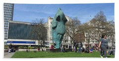 Bath Towel featuring the photograph Horse Sniffing The Tourists Farts - Hyde Park Corner 01 - London  by Mudiama Kammoh
