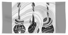 Marbled Music Art - Three Guitars - Sharon Cummings Bath Towel