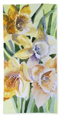 March Of Daffodils Hand Towel by Mindy Newman