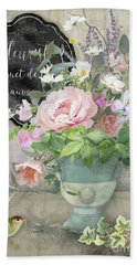 Hand Towel featuring the painting Marche Aux Fleurs 3 Peony Tulips Sweet Peas Lavender And Bird by Audrey Jeanne Roberts