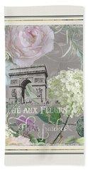 Marche Aux Fleurs Vintage Paris Arc De Triomphe Bath Towel by Audrey Jeanne Roberts