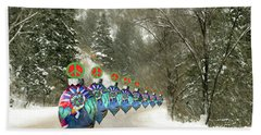 Bath Towel featuring the photograph Marching Peace Ornaments by Lou Novick
