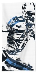 Hand Towel featuring the mixed media Marcus Mariota Tennesse Titans Pixel Art 2 by Joe Hamilton