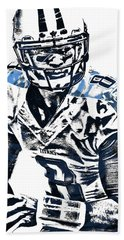 Bath Towel featuring the mixed media Marcus Mariota Tennessee Titans Pixel Art 3 by Joe Hamilton