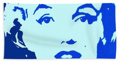 Hand Towel featuring the painting Marilyn Monroe Blue Pop Art Portrait by Bob Baker