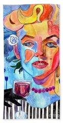 Marilyn Monroe Drinking Wine Bath Towel