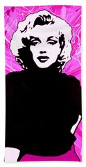 Hand Towel featuring the painting Marilyn Monroe In Hot Pink by Bob Baker