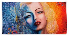 Bath Towel featuring the painting Marilyn Monroe Original Acrylic Palette Knife Painting by Georgeta Blanaru