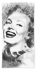 Marilyn Monroe Scribbles Portrait Bath Towel