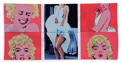 Marilyn Monroe With Sketches Bath Towel