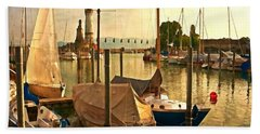 Marina At Golden Light - Digital Paint Hand Towel