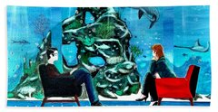 Marinelife Observing Couple Sitting In Chairs Bath Towel