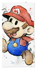 Mario Watercolor Fan Art Bath Towel