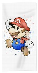 Mario Watercolor Fan Art Hand Towel