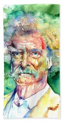 Mark Twain Watercolor Bath Towel