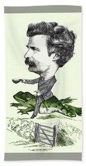 Mark Twain Caricature Colorized Bath Towel