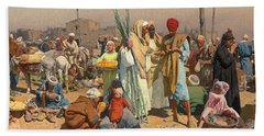Market In Lower Egypt  Hand Towel by Leopold Karl Muller