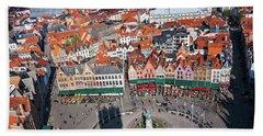 Markt Square Bruges From Above - Bruges Bath Towel