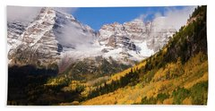 Bath Towel featuring the photograph Maroon Bells by Steve Stuller