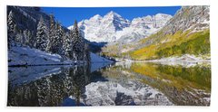 Maroon Lake And Bells 1 Hand Towel