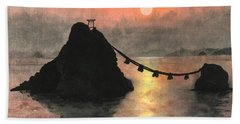 Married Couple Rocks At Sunset Hand Towel
