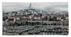 Marseilles France Harbor Bath Towel by Alan Toepfer