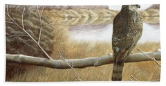Hand Towel featuring the painting Marsh Hawk by Laurie Stewart