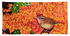 Bath Towel featuring the painting Marsh Wren by Michael Frank