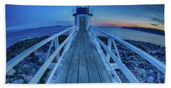 Marshall Point Lighthouse At Sunset, Maine, Usa Hand Towel