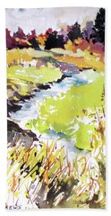 Hand Towel featuring the painting Marshland by Rae Andrews