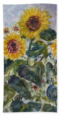 Martha's Sunflowers Hand Towel by Quin Sweetman