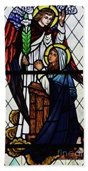 Mary And The Angel Gabriel Hand Towel by Debby Pueschel
