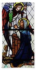 Mary And The Angel Gabriel Bath Towel by Debby Pueschel