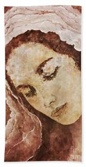 Bath Towel featuring the painting  Mary Mother Of Jesus by AmaS Art