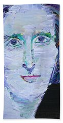 Hand Towel featuring the painting Mary Shelley - Oil Portrait by Fabrizio Cassetta