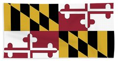 Bath Towel featuring the photograph Maryland State Flag by Robert Banach