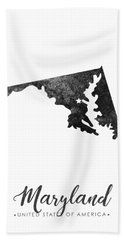 Maryland State Map Art - Grunge Silhouette Bath Towel