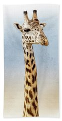 Masai Giraffe Closeup Square Bath Towel