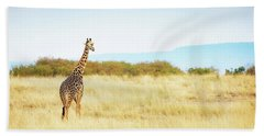 Masai Giraffe Walking In Kenya Africa Hand Towel