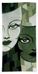 Masks Verde Hand Towel by Tara Hutton