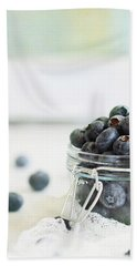 Mason Jar Full Of Blueberries Bath Towel