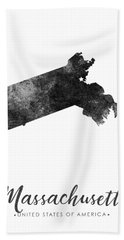 Massachusetts State Map Art - Grunge Silhouette Bath Towel
