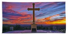 Christian Cross And Amazing Sunset Hand Towel