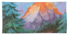 Bath Towel featuring the painting Matterhorn Sunrise by Diane McClary