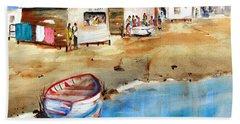 Mauricio's Village - Beach Huts Bath Towel by Carlin Blahnik